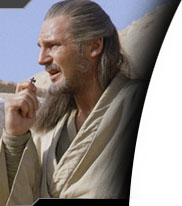 Qui-Gon talking on his communicator
