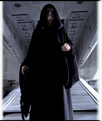 Emperor Palpatine walking down a ramp
