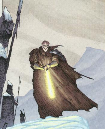 Ulic Qel Droma with his lightsaber in the snow