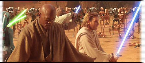 Windu and Kenobi battling on Geonosis